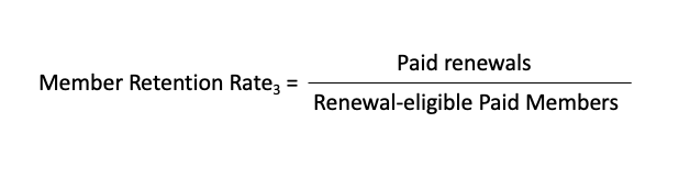 Membership retention rate formula #3